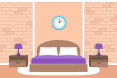 Bedroom design. Room interior Vector illustration. Background with brick wall. Stock Photography