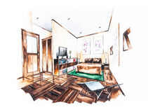 Bedroom design of watercolor painting Stock Image
