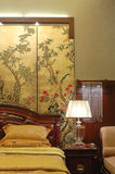 Bedroom detail. Interior of bedroom in chinese style Royalty Free Stock Photo