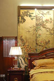 Bedroom detail. Interior of bedroom in chinese style Royalty Free Stock Image