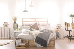 Bedroom With DIY Double Bed Royalty Free Stock Images