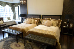 bedroom double interior Στοκ εικόνα με δικαίωμα ελεύθερης χρήσης