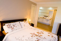 Bedroom and ensuite stock photo