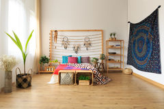Bedroom with ethnic design Stock Photography