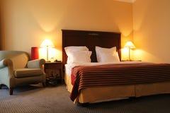Bedroom in the evening. Bedroom of hotel in the evening, Tashkent Stock Photo