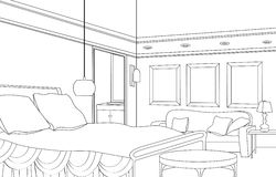Bedroom with fireplace. Editable vector furniture. Interior in retro style. Bed-room. Editable vector illustration of an outline sketch of a interior. Graphical Royalty Free Stock Photography