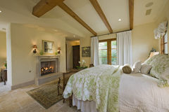 Bedroom With Fireplace Royalty Free Stock Photo