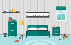 Bedroom flat design Stock Image