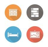 Bedroom flat design icons set Stock Photography