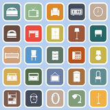 Bedroom flat icons on blue background Royalty Free Stock Photo