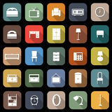 Bedroom flat icons with long shadow Royalty Free Stock Photo