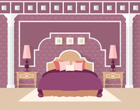 Bedroom in flat style in in purple color. Royalty Free Stock Image