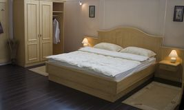 Bedroom furniture. Exhibition royalty free stock photography