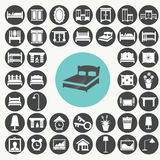 Bedroom Furniture and Accessories icons set. Stock Images