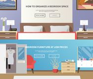 Bedroom Furniture Banner. Bedroom furniture horizontal banner set with flat interior elements isolated vector illustration Royalty Free Stock Photos
