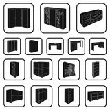 Bedroom furniture black icons in set collection for design. Modern wooden furniture isometric vector symbol stock web Stock Photo