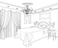 Bedroom furniture. Editable illustration. Hous design. Royalty Free Stock Image