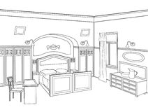Bedroom furniture. Editable  illustration of an outline sk Royalty Free Stock Photos
