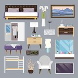 Bedroom Furniture Flat Icons Set Stock Photography