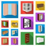 Bedroom furniture flat icons in set collection for design. Modern wooden furniture isometric vector symbol stock web Stock Photos