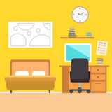 Bedroom with furniture.  Flat style  illustration. Cozy interior. Stock Images