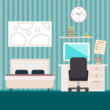 Bedroom with furniture.  Flat style  illustration. Cozy interior. Stock Image