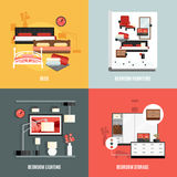 Bedroom Furniture Icons Set Royalty Free Stock Image