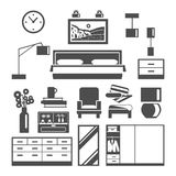 Bedroom Furniture Icons Set Stock Image