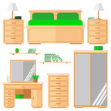 Bedroom furniture icons set. Isolated objects on white background. Flat design. Vector illustration royalty free illustration