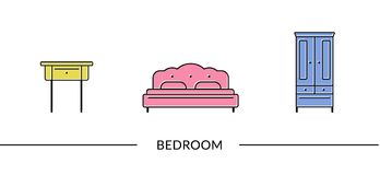 Bedroom  furniture line icons. For web and print Stock Image