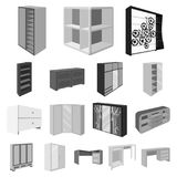 Bedroom furniture monochrome icons in set collection for design. Modern wooden furniture isometric vector symbol stock Royalty Free Stock Images