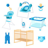Bedroom furniture for newborn boy on white background Stock Images
