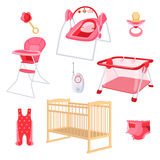 Bedroom furniture for newborn girl on white background. Royalty Free Stock Photo