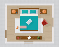 Bedroom with furniture overhead top view. Royalty Free Stock Images