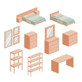 Bedroom furniture set in colorful silhouette over white background. Vector illustration Royalty Free Stock Image