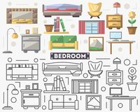 Bedroom furniture set in flat style. Sofa, armchair, window, flower pot, sconce, bed, table illustration. Collection for architecture design studio, house Royalty Free Stock Photos