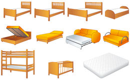 Bedroom furniture set, vector illustration. Various bedroom furniture: bed, cot, couch with adjustable back, sofa, unfolded sofa-bed, platform storage bed, bunk Royalty Free Stock Photos