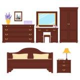 Bedroom furniture vector set Stock Photography
