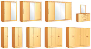Bedroom furniture wardrobes, dressing commode. Bedroom furniture - modular wardrobes and dressing commode with mirror. Vector illustration objects stock illustration