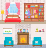Bedroom with furniture and window. Wardrobe with clothes and mirror. Flat style vector illustration. Royalty Free Stock Photography