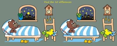 Bedroom, game. Bedroom, teddy bear in the crib. Fin the ten differences Royalty Free Stock Photos