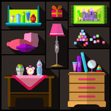 Bedroom for girls. A set of furniture and objects for the room. Stock Photography