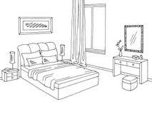 Bedroom graphic black white interior sketch illustration vector Stock Images