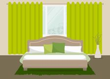 Bedroom in a green color. There is a bed with pillows and a vase on a window background in the picture. Vector flat illustration royalty free illustration