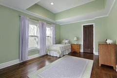 Bedroom with green walls Stock Photography