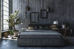 Bedroom with grey walls Royalty Free Stock Photos