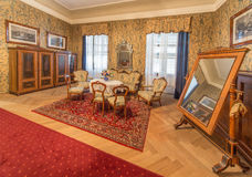 Bedroom of guests. Furniture from 19. cent in palace Saint Anton. Royalty Free Stock Photos