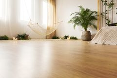 Bedroom with hardwood floor. Bed and hammock Royalty Free Stock Image