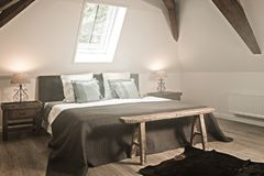 Old bedroom haze. Bedroom in historic home with smoke haze Royalty Free Stock Images