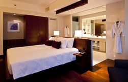 Bedroom Hotel. Interior of a hotel room Royalty Free Stock Photo